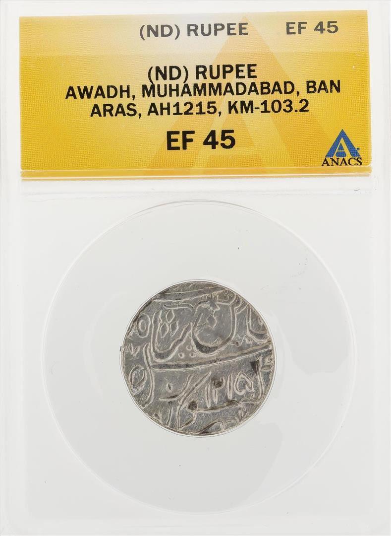 Nd Rupee Awadh Muhammadabad Ban Aras Ah1215 Km103 2 Coin Anacs Ef45