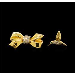 14KT Yellow Gold Hummingbird and Ribbon Pins