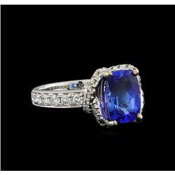18KT White Gold 3.06 ctw Tanzanite and Diamond Ring