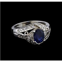 14KT White Gold 1.51 ctw Sapphire and Diamond Ring