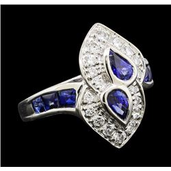 0.62 ctw Ruby and Diamond Ring - Platinum