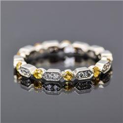 18K White Gold, Diamond and Yellow Sapphire Ring