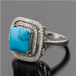 Sterling Silver Cubic Zirconia Ring with Synthetic Turq