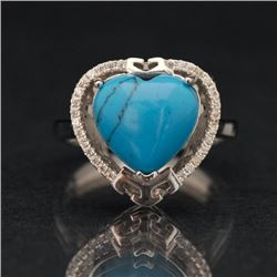 Sterling and Synthetic Turquoise Ring