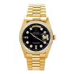 Rolex Men's President YG Custom Diamond Bezel Dial