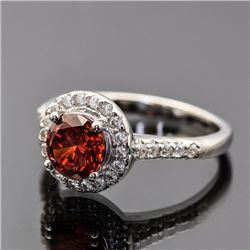 Sterling Silver Cubic Zirconia and Orange Gemstone Ring