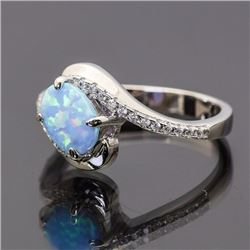 Sterling Silver and Synthetic Opal Ring
