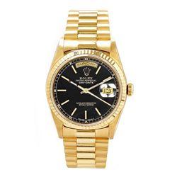 Preowned Rolex Men's President YG Fluted Black Dial