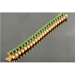 18K Yellow Gold and Green Enamel Bracelet