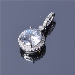Sterling Silver Round CZ Halo Pendant