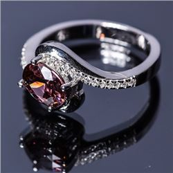 Sterling Silver Cubic Zirconium Ring with Tourmaline