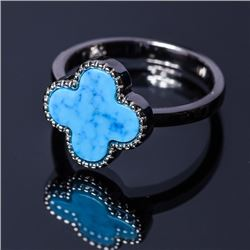Sterling Silver and Synthetic Stone Cross Ring