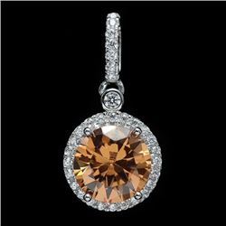 Sterling Silver and Yellow Cubic Zirconia Drop Pendant