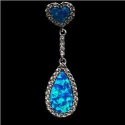 Sterling Silver and Synthetic Blue Opal Drop Pendant
