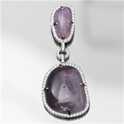 Sterling Silver and Synthetic Purple Stone Drop Pendant