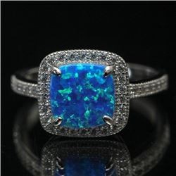 Sterling Silver and Synthetic Blue Opal Ring