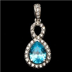 Sterling Silver Infinity Pendant & Synthetic Blue Stone