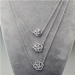Sterling Silver and Cubic Zirconi Layered Necklace