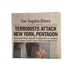 World Trade Center WTC LA Times September 12th, 2001 Famous Twin Towers Headlines