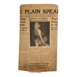 """Marilyn Monroe Original Newspaper The Plain Speaker """"Marilyn Leaves Joe Dimaggio"""