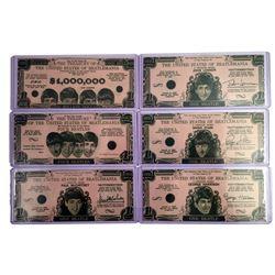 Beatles Money set of 6 Original Currency Bills 1964