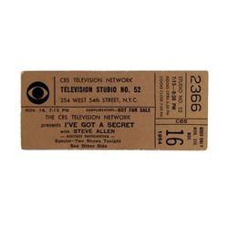 "CBS Game Show Ticket  ""I've Got a Secret"" 1964"
