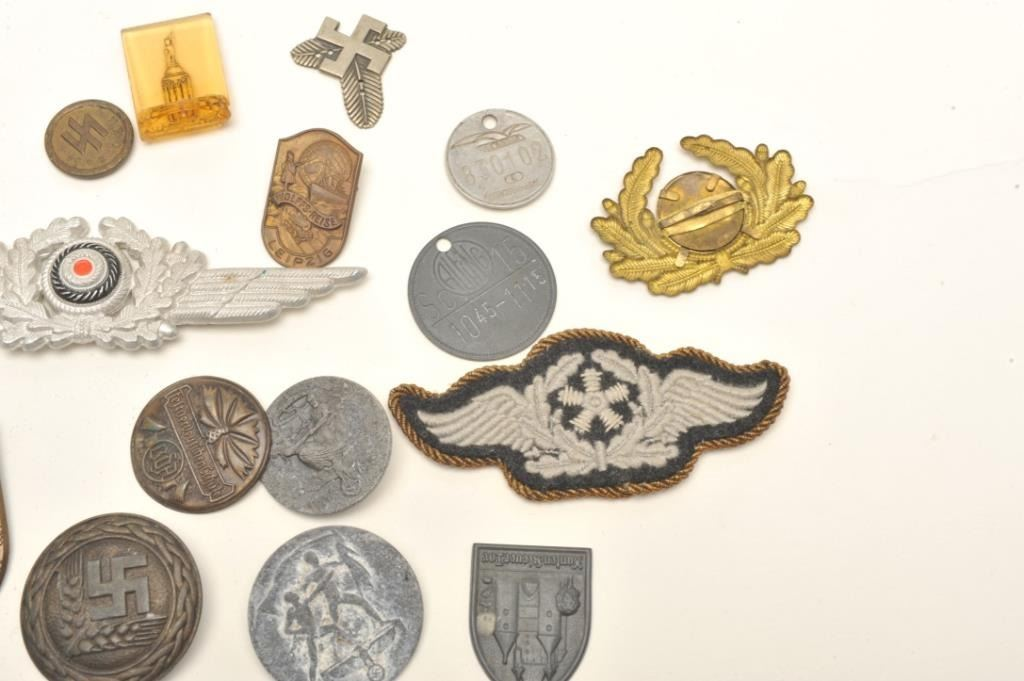 Lot of approximately 20 German military style pins, patches