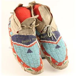 Pair of Mens Teton Dakota Sioux Beaded Moccasins