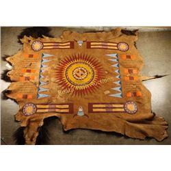 Mandan-Hidatsa Pinwheel Painted Buffalo Hide