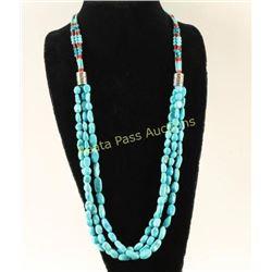 Three Strand Navajo Sleeping Beauty Necklace