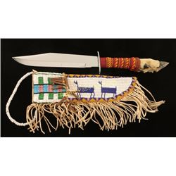 Large Indian Bowie Knife & Sheath
