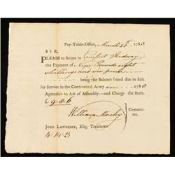 Receipt for Continental Army Services 1783