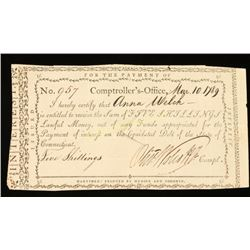 Interest Receipt 1789 Signed by Oliver Wolcott Jr.