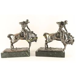 Lot of Bronze Western Bookends