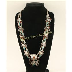 Outstanding Zuni Inlay Squash Blossom Necklace