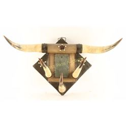 Vintage Bunkhouse Mirror & Horn Set