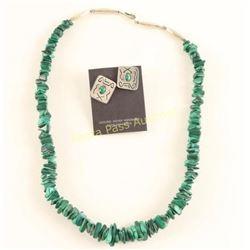 Malachite Necklace & Earrings Set