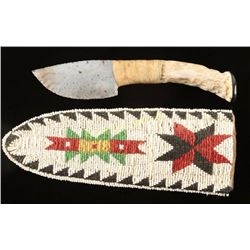 Knife with Beaded Sheath