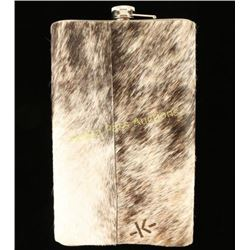 Large Cowhide Wrapped Flask