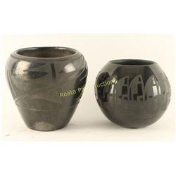 Collection of 2 Blackware Santa Clara Pots