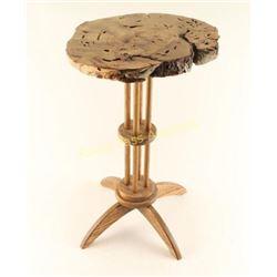 Round Pecan Burl Table