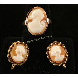 Cameo Ring & Earrings Set