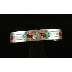 Sterling Silver Chip Inlay Cuff