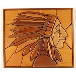 Inlaid Wood Portrait of Indian Chief