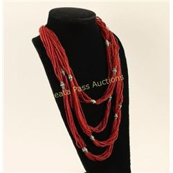 Coral 32 Strand Necklace