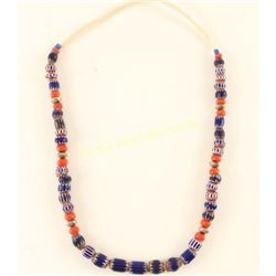 Cobalt Chevron Trade Bead Necklace