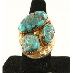 Large Navajo Men's 3 Stone Turquoise Ring