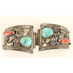 Navajo Coral & Turquoise Watchband