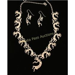 Sterling Kokopelli Necklace & Earrings Set