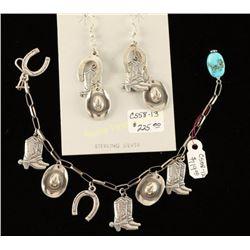 Western Themed Bracelet and Earrings Set
